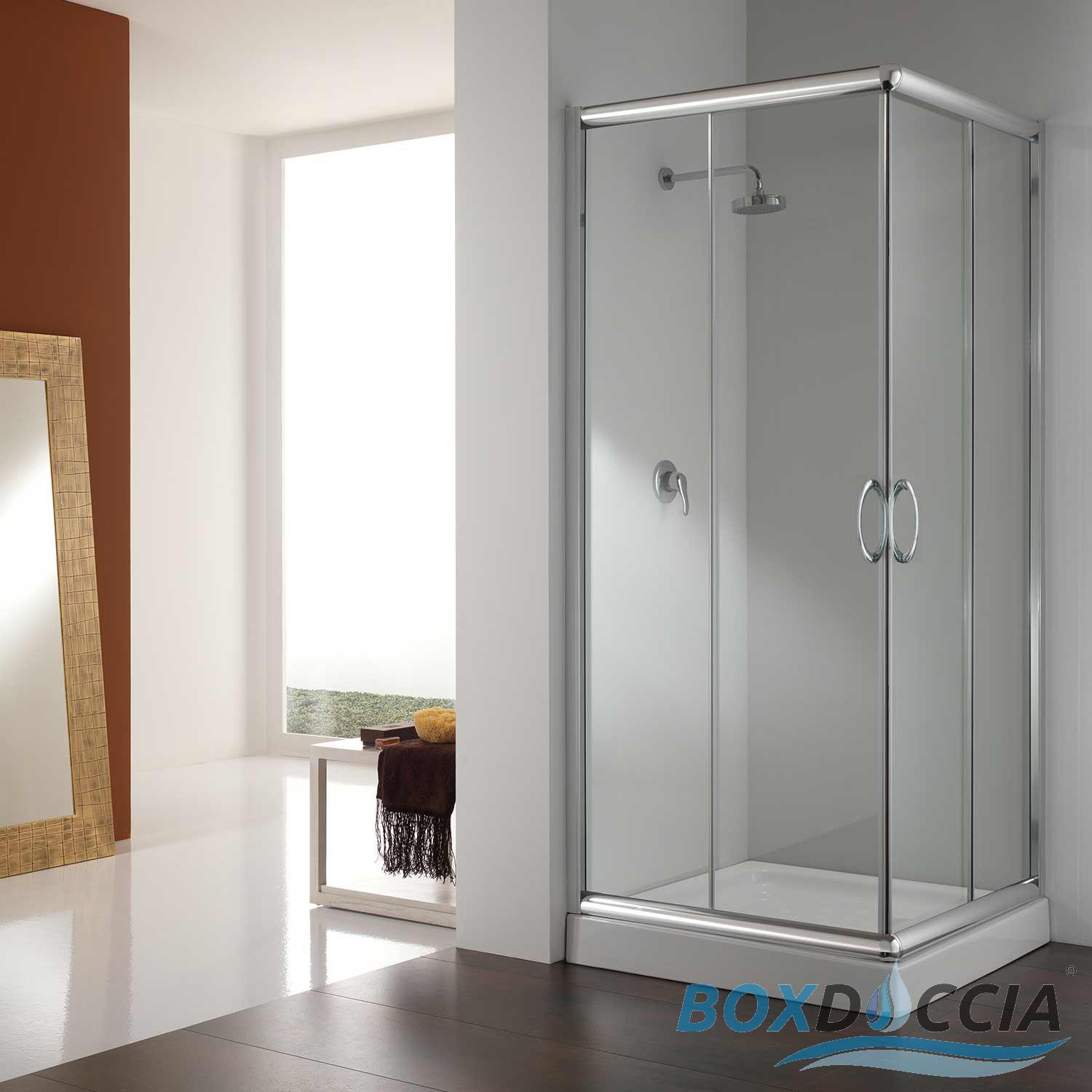 shower enclosure corner entry cubicle glass sliding screen door bathroom chrome ebay. Black Bedroom Furniture Sets. Home Design Ideas