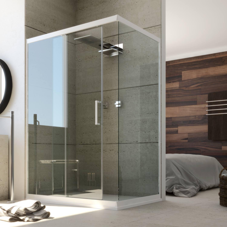 cabine de douche en pvc 70x100cm profil blanc verre. Black Bedroom Furniture Sets. Home Design Ideas