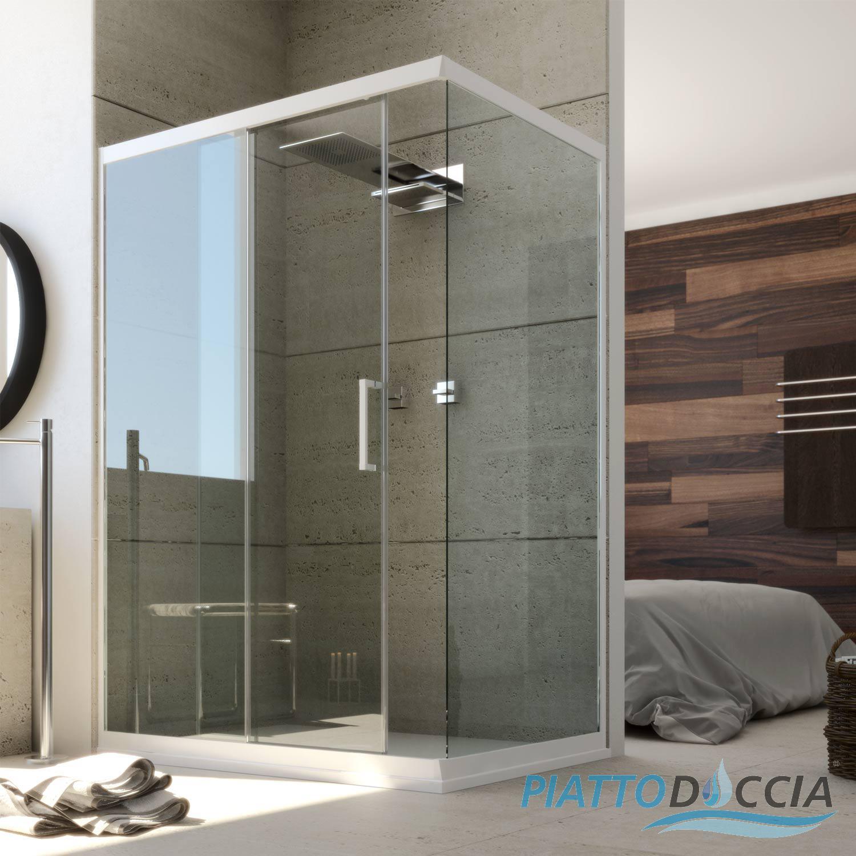Box doccia angolare in pvc vetro trasparente profilo bianco scorr e fissa promo ebay - Cabina doccia senza piatto ...