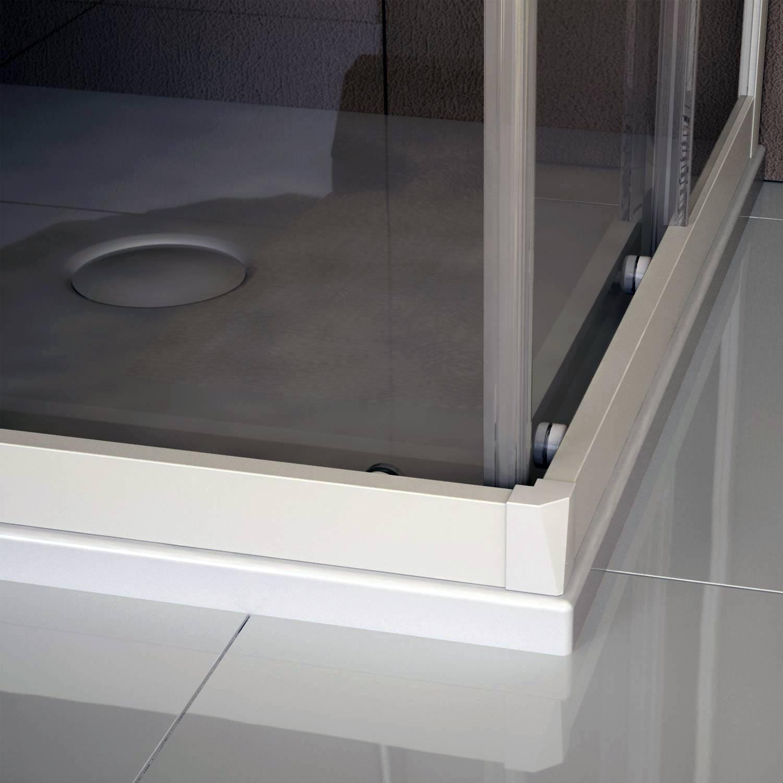 cabine de douche en pvc 70x100cm verre transparent coulissant profil blanc ebay. Black Bedroom Furniture Sets. Home Design Ideas