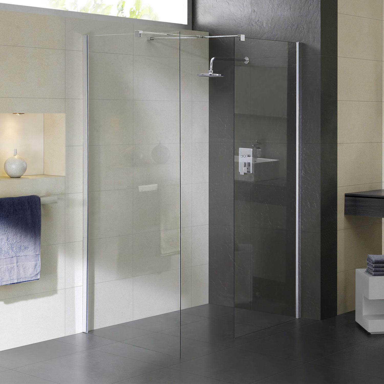 Box doccia parete fissa 2 lati walk in vetro cristallo - Altezza box doccia ...