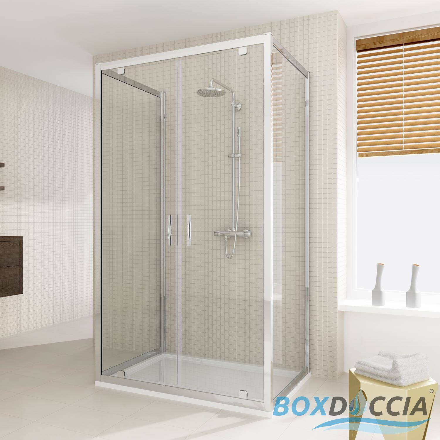 SHOWER ENCLOSURE 3 SIDED CORNER ENTRY SQUARE GLASS 2 PIVOT SCREEN ...