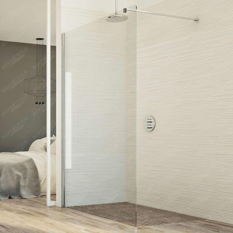 Parete In Vetro Doccia : Box doccia parete cm in vetro trasparente