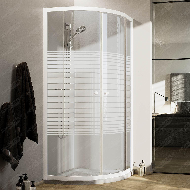Box Doccia In Vetro.Box Doccia Bianco Semicircolare H185 Con Vetro Serigrafato Mod Blanc