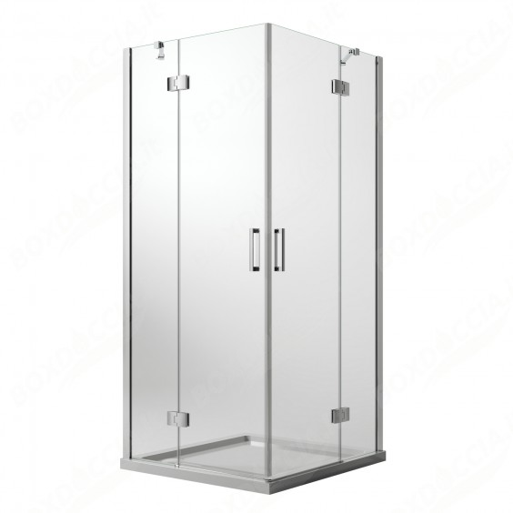 Box Doccia 100x120 CM H190 Trasparente con Easyclean mod. Flip Anta + Anta Ap. Battente