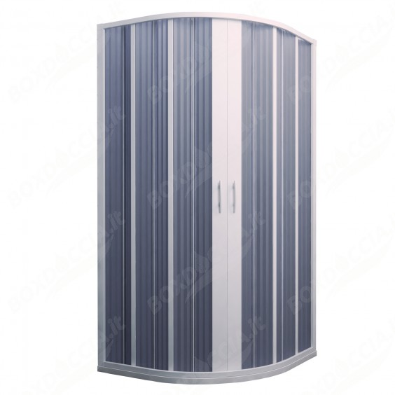 Box Doccia in PVC 100x100CM H185 a soffietto Semicircolare con Apertura Centrale colore Bianco mod. Flex