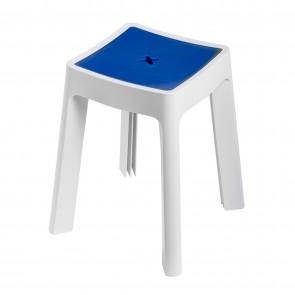 Sgabello Contenitore bianco e blu in resina termoplastica mod. Keope
