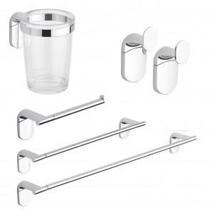 Set accessori bagno kit completo Zero Cromo 5 pezzi in Acciaio Cromato e ABS