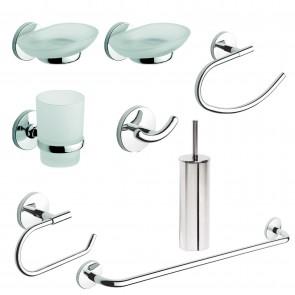Set accessori bagno kit completo One Cromo 8 pezzi in Acciaio Cromato