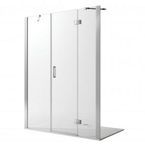 Porta Doccia 135CM H190 Vetro Trasparente con Easy-Clean mod. Flip Anta + Fisso
