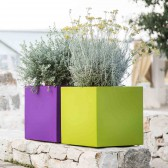 Harz-Blumentopf mod. Cube Eckig