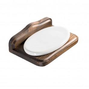 Porta sapone in legno e ceramica mod. Mathilde