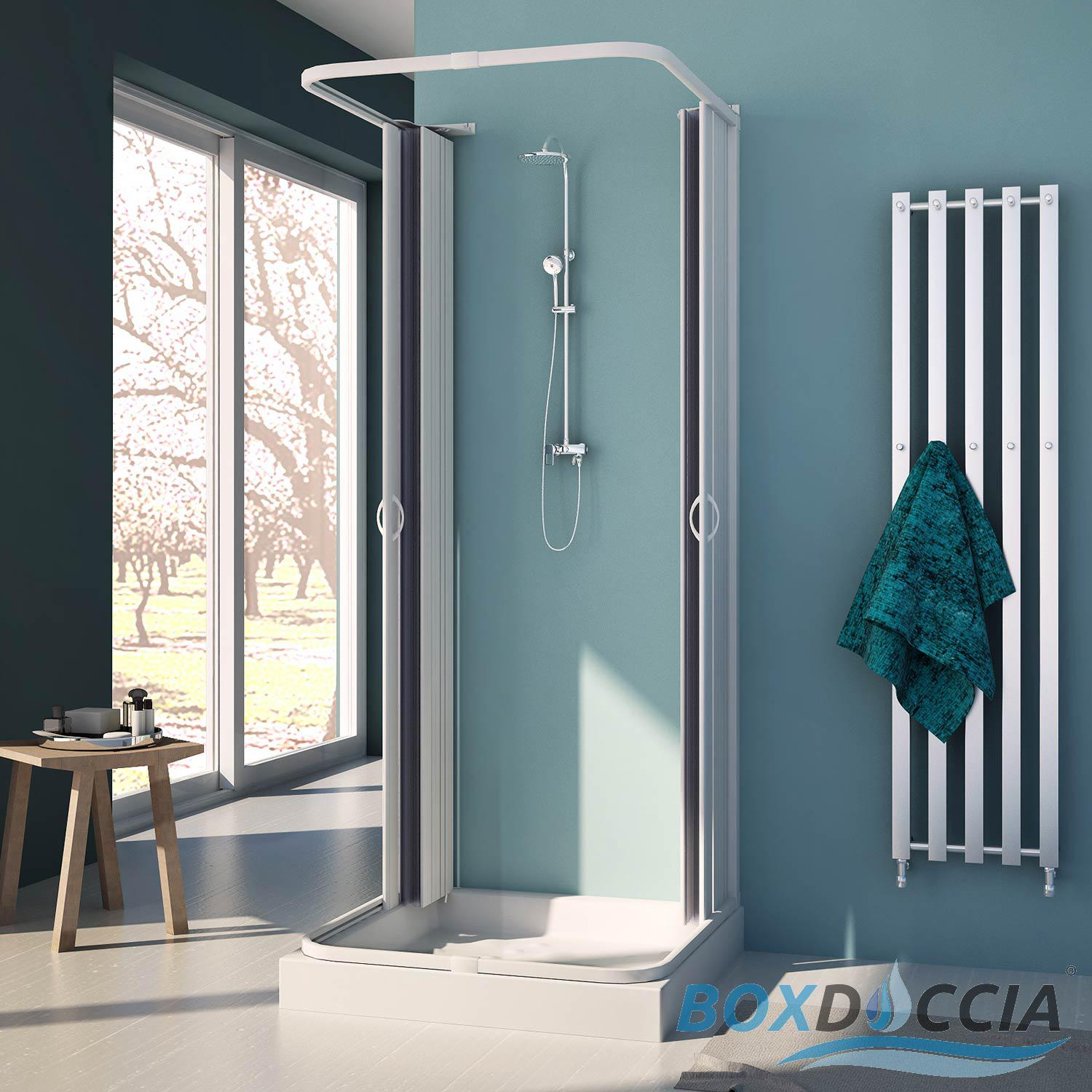 SHOWER ENCLOSURE 3-SIDED CUBICLE FOLDING DOORS PANEL CENTRAL OPENING ...