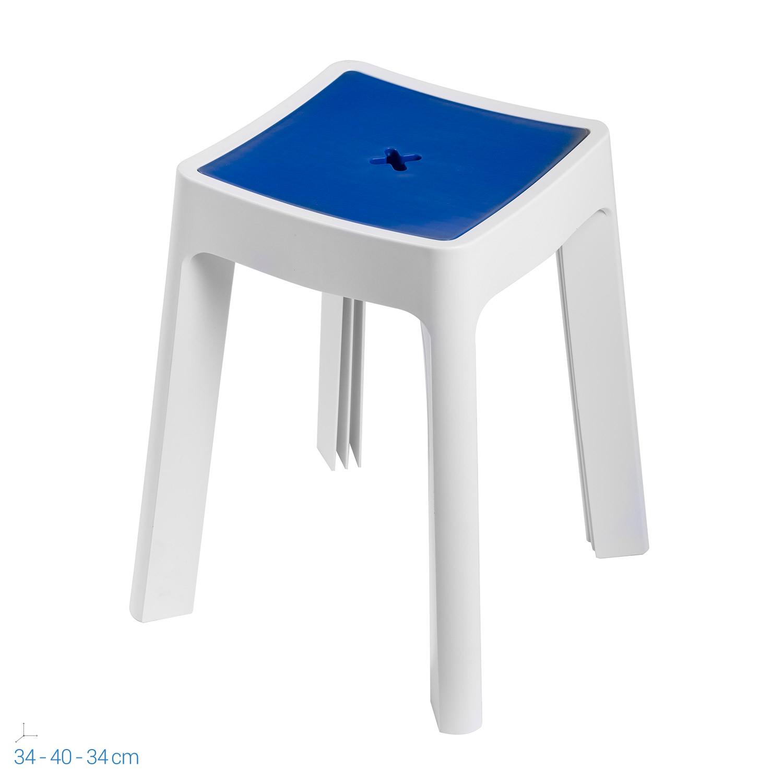 Sgabello contenitore bianco e blu in resina per doccia box bagno portaoggetti ebay - Sgabello contenitore bagno ...