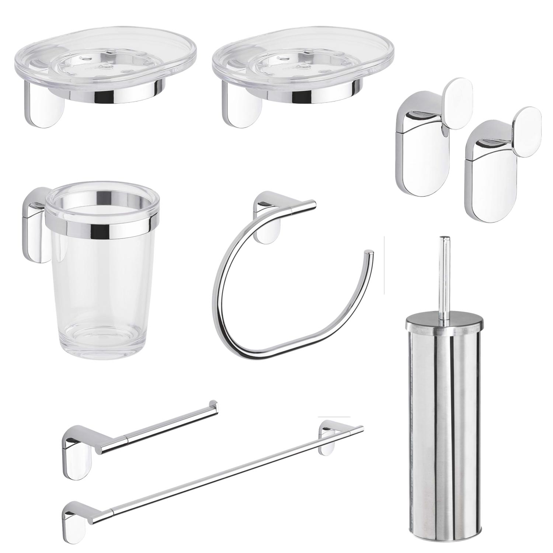 Set accessori bagno acciaio 8 pezzi porta scopino porta spazzolino porta rotolo ebay - Accessori bagno in acciaio ...