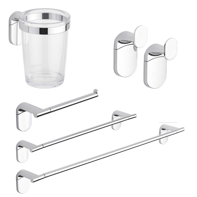 Set accessori appoggio bagno cromato acciaio inox fissaggio a muro 4 pezzi kit ebay - Accessori bagno in acciaio ...