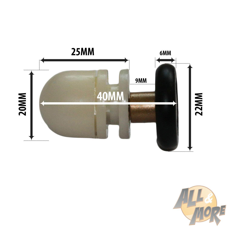 Kit8 cuscinetti ricambio box doccia ruote 22mm rotelline for Ricambi box doccia cuscinetti