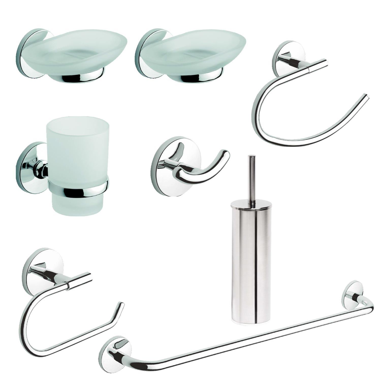 Kit accessori arredo bagno acciaio 8 pezzi portascopino - Accessori bagno in acciaio ...