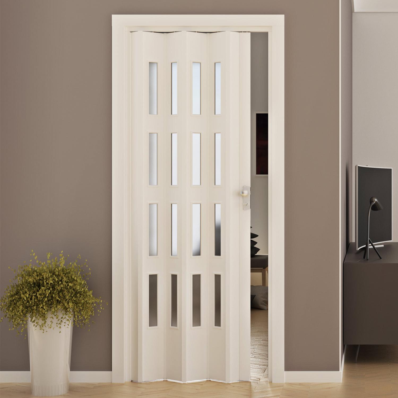 Porte porta a soffietto pvc 88 5x214 cm con vetro colori maniglia da interno ebay - Porta a soffietto in vetro ...