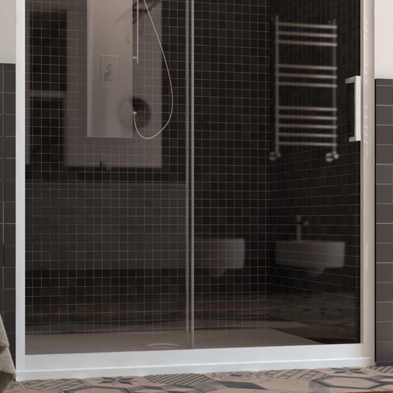 dusche duscht r duschabtrennung nische schiebet r pvc profile weiss esg glas ebay. Black Bedroom Furniture Sets. Home Design Ideas