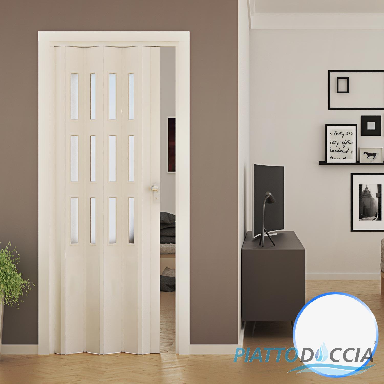 Porte porta a soffietto pvc 88 5x214 cm con vetro colori for Porte a soffietto amazon