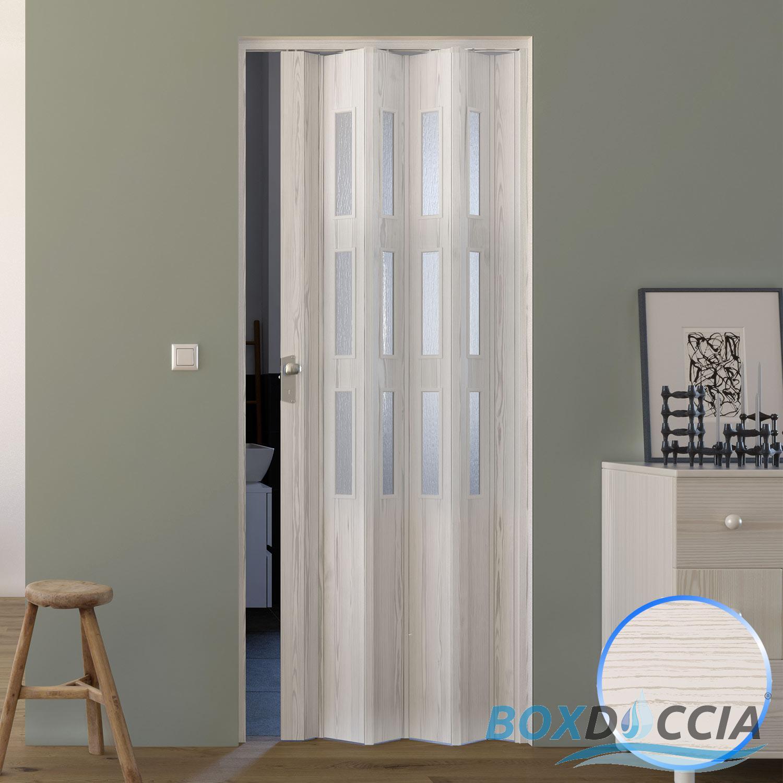 PORTE ACCORDÉON INTÉRIEUR PVC AVEC VERRE PLACARD 88,5x214 CM JOINT ...