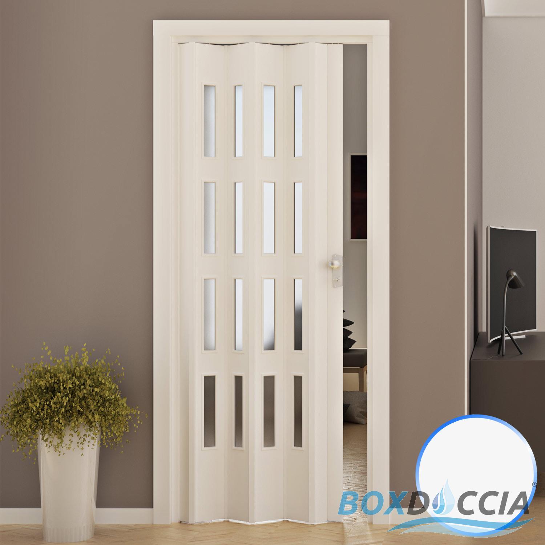 Porte porta a soffietto pvc 88 5x214 cm con vetro colori maniglia da interno ebay - Colori da interno ...