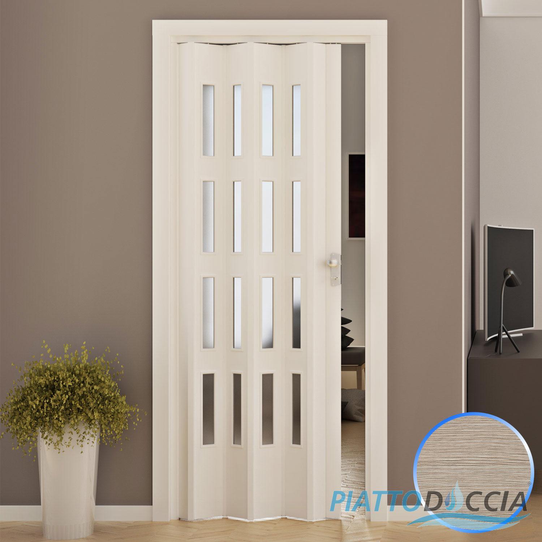 Porte porta a soffietto pvc 88 5x214 cm con vetro colori - Porte da interno obi ...