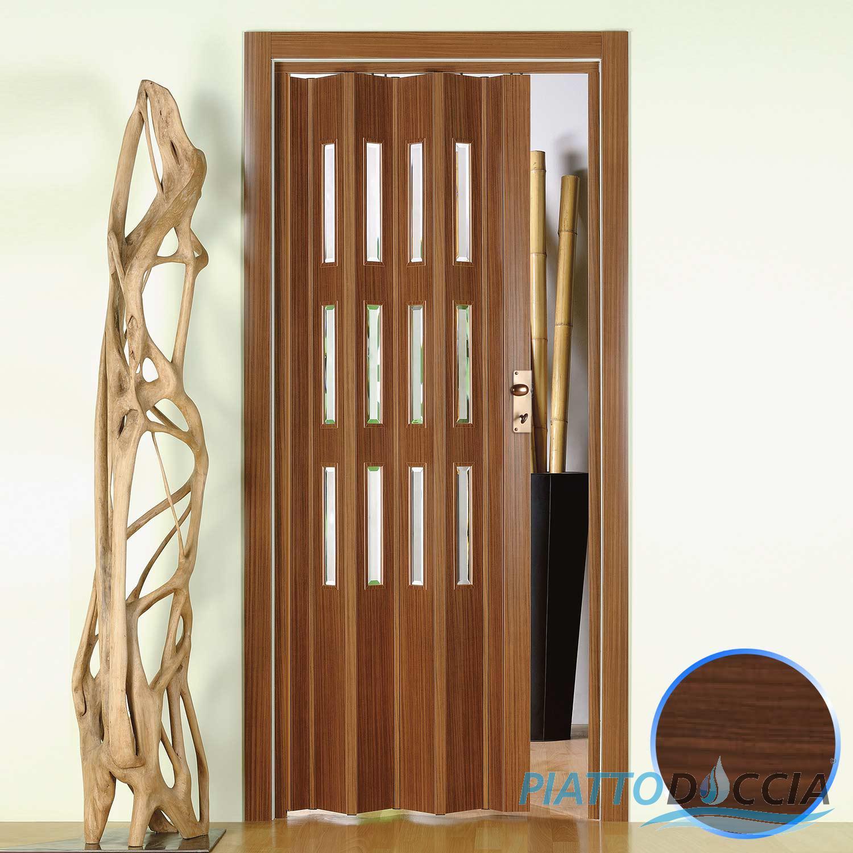 Porte porta a soffietto pvc 88 5x214 cm con vetro colori - Porte noce chiaro ...