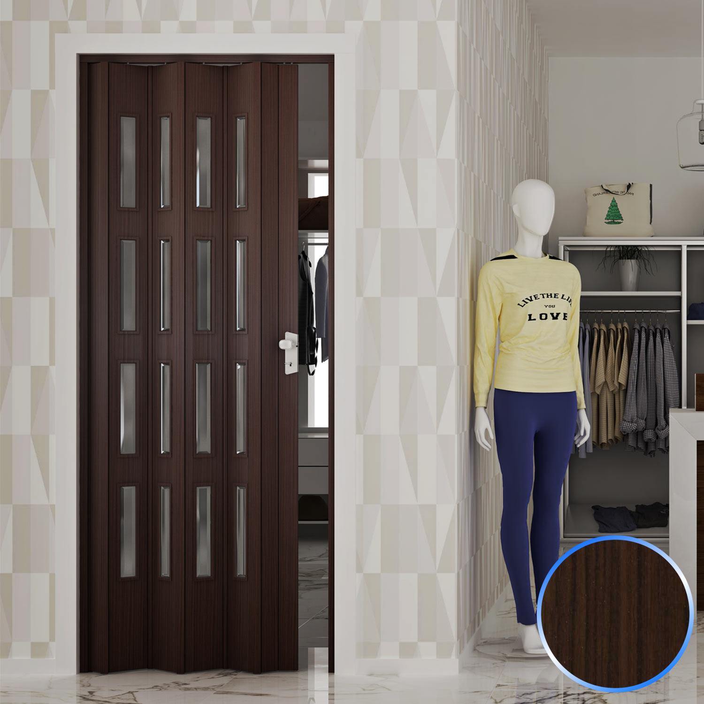 Porta soffietto maniglia noce mansonia inserto vetro - Porta a soffietto in vetro ...