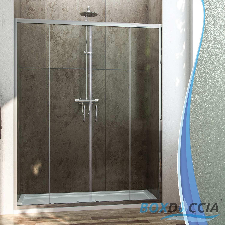 Box cabina doccia nicchia parete porta 2 ante cristallo scorrevoli 117 a 181cm ebay - Porta cabina doccia ...