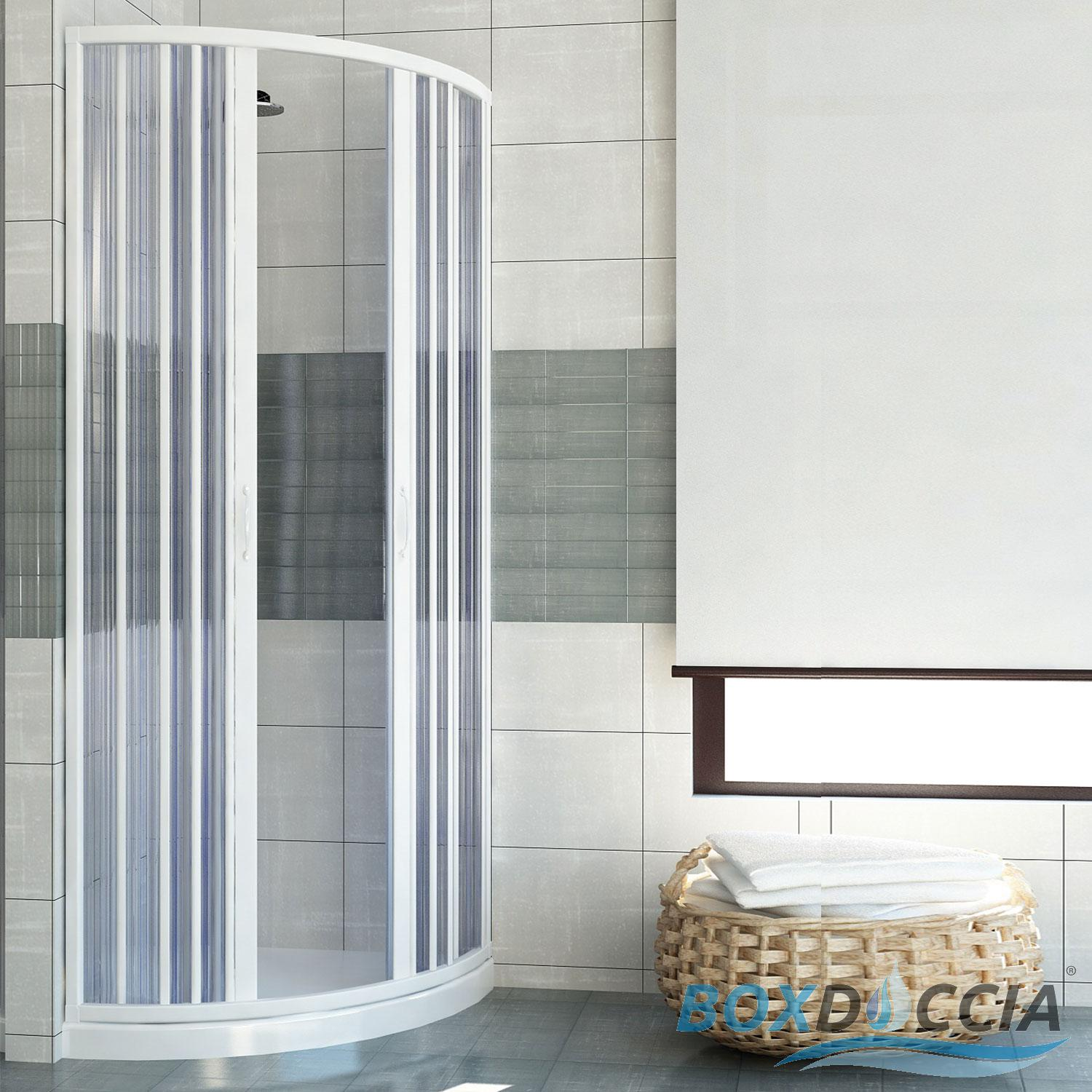 SHOWER ENCLOSURE SEMICIRCULAR CENTRAL OPENING CUBICLE PLASTIC PVC ...