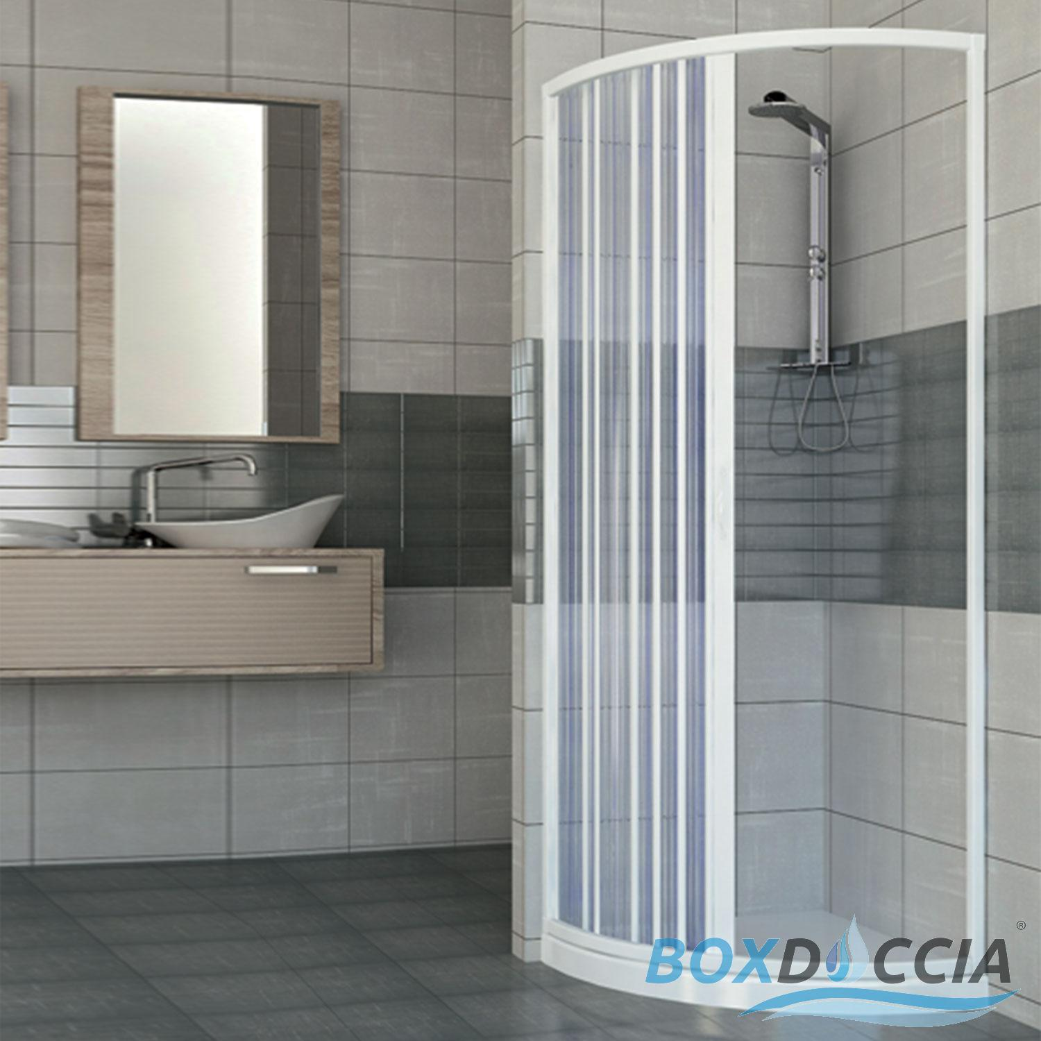 SHOWER ENCLOSURE SEMICIRCULAR SIDE OPENING CUBICLE PLASTIC PVC ...