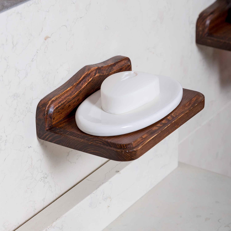Porta sapone in legno e ceramica arte povera country accessori bagno muro ebay - Accessori bagno in legno ...