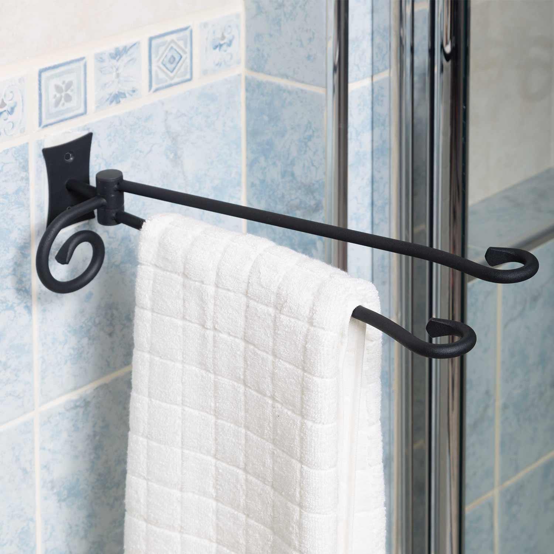 Porta asciugamani in ferro battuto doppio due salviette for Arredo bagno porta asciugamani