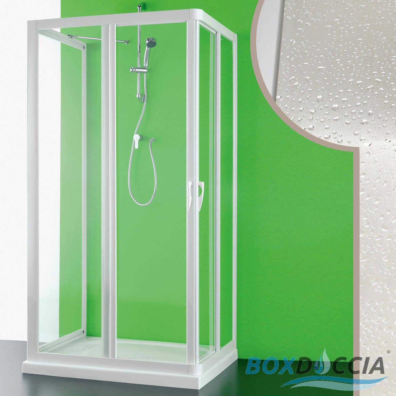 CABINE DE DOUCHE 3 PAROIS PVC EN CRILEX ACRYLIQUE 2 PORTES COULISSANTES