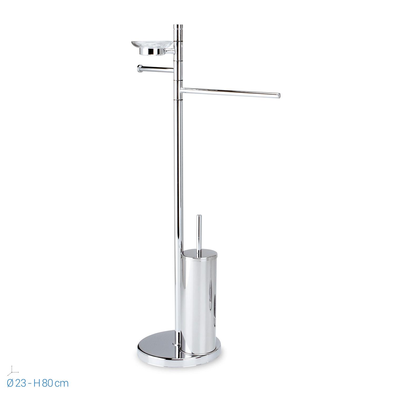 Piantana acciaio portarotolo porta scopino wc sapone salviette asciugamani bagno ebay - Piantana portasalviette bagno ...