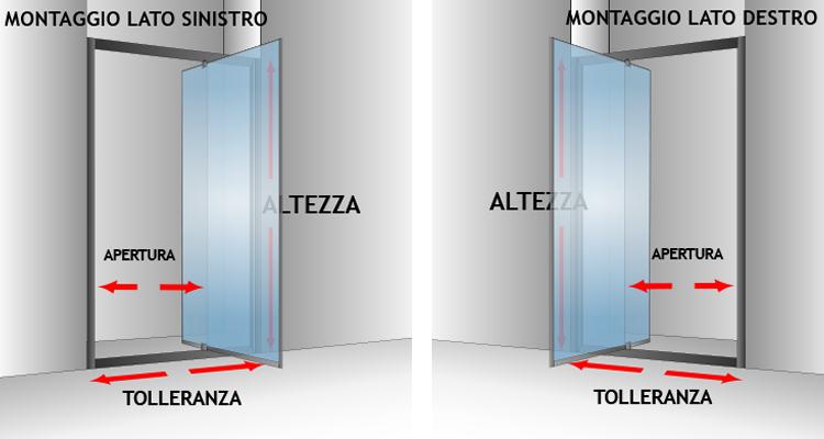 Box cabina doccia nicchia parete porta bagno cristallo battente da