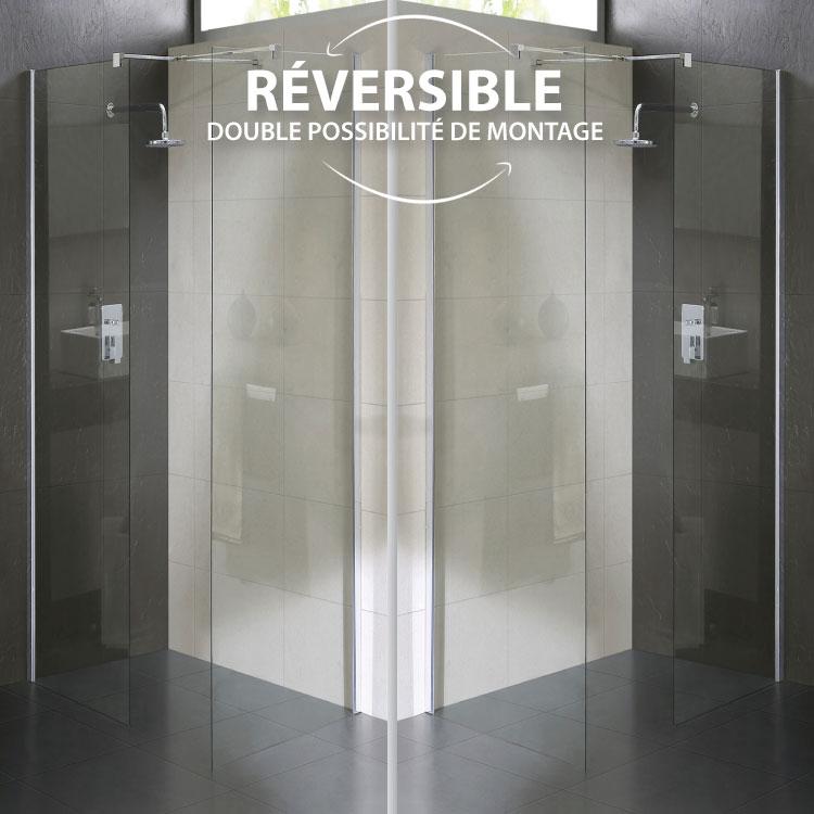 Cabine douche paroi 70x140 cm en verre transparent 8mm mod for Manomano douche